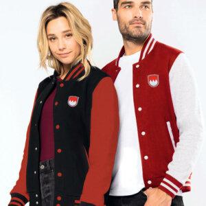 College Jacket Franken - in rot mit weißen Ärmeln