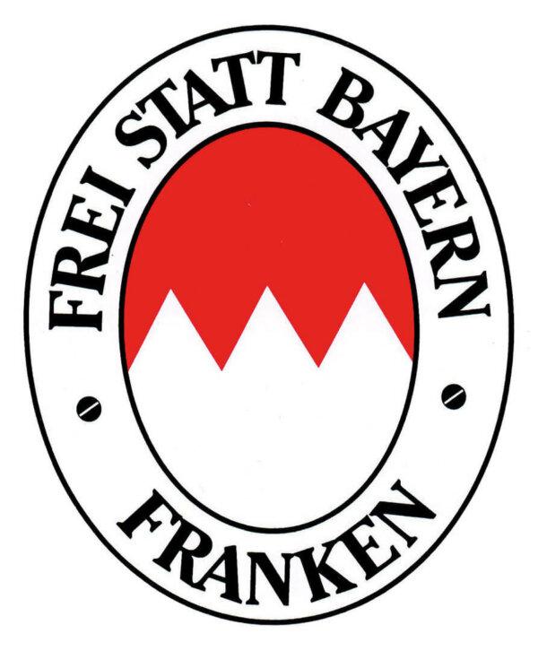 Aufkleber Frei statt Bayern im Ovalformat: 10 x 8,5 cm.