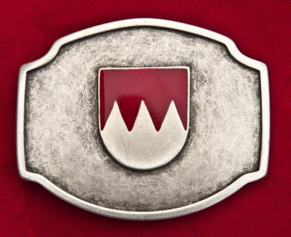Wechsel-Gürtelschnalle aus Altsilber mit fränkischem Wappen