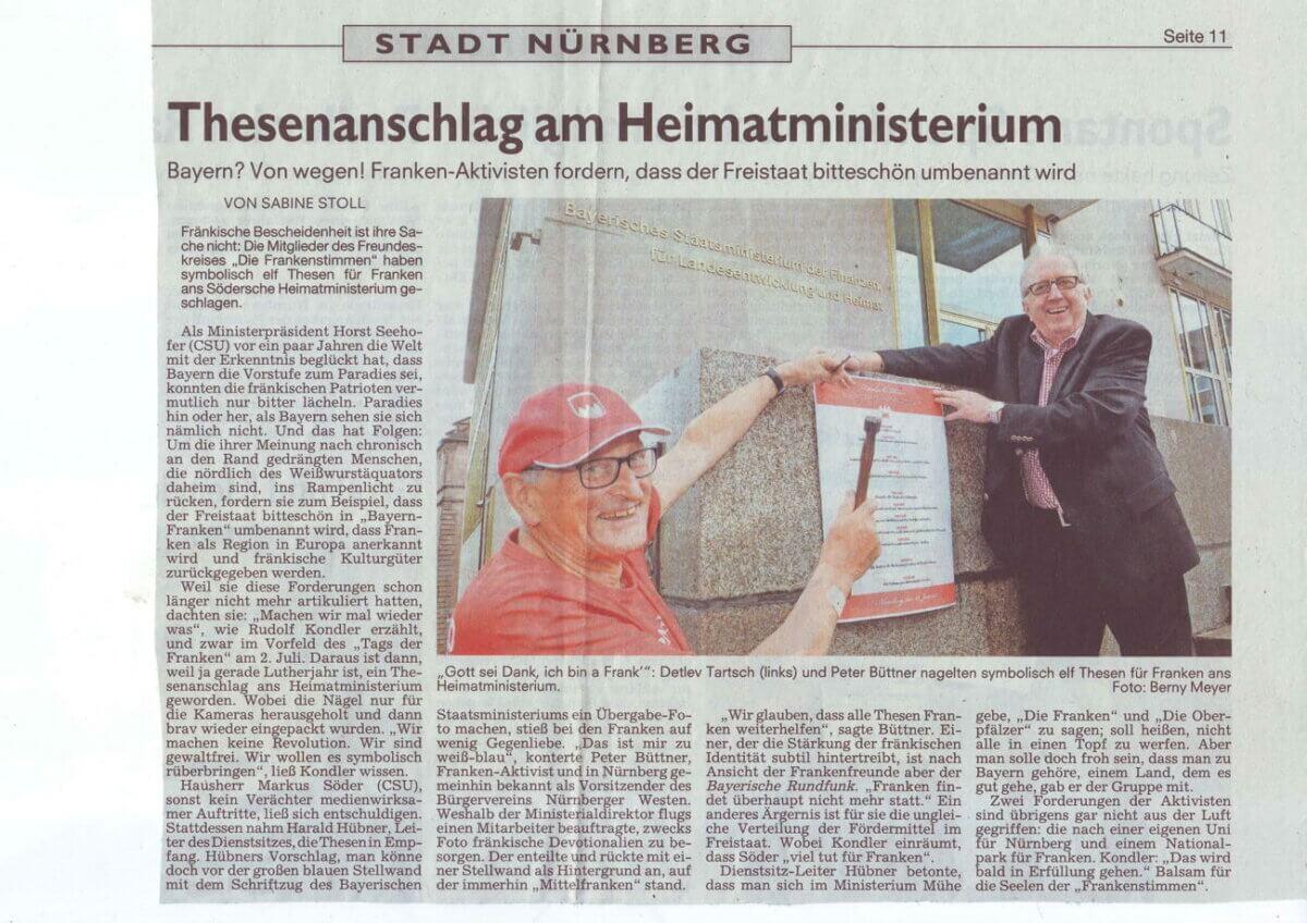 presse thesenanschlag franken aktivis